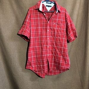 Red Plaid Button Down Tommy Hilfiger Shirt Mens